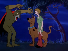 Shaggy and Scooby with the Cat Creature