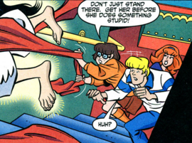Velma tries to stop Kung Fu Ghost Girl