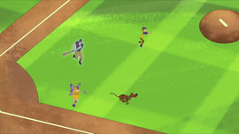 Ghost of Chip Braverton chases trio around field
