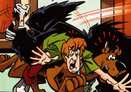 Shag and Scoob attacked by the Painting Ghoul