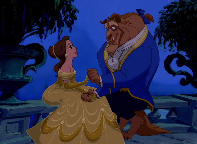 File:Once Upon a Time, Belle and Beast in the balcony at Night Time.PNG