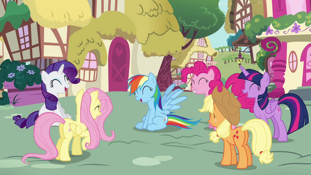 File:Mane Six laughing S4E21.png