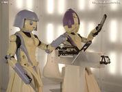 Trin-e and zu-zana androids