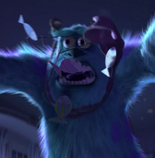 Sulley yelling comically as he gets tangled up in Boo's toys