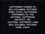 RCA Columbia Pictures Home Video Closed Captioning Screen