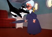 Sylvester flying into Granny