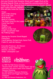 The Sesame Awards Back Cover