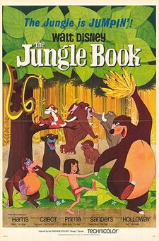 "Drawing of a jungle. A boy wearing a red loincloth walks holding hands with a bear which holds a bunch of bananas above his head, while an orangutan follows them and a black panther watches them from behind a bush. A tiger lies on the branch of a tree while a snake comes from the leaves above. In the background, three elephants. At the top of the image, the tagline ""The Jungle is Jumpin'!"" and the title ""Walt Disney The Jungle Book"". At the bottom, the names of the main voice actors and the characters they play."