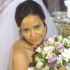 Carla in her wedding dress