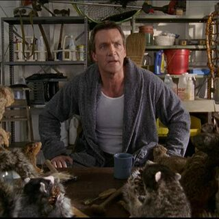 Janitor addressing his squirrel army during a meeting
