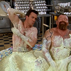 Janitor bathes in J.D.'s egg salad.