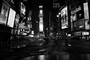 Times square empty at night