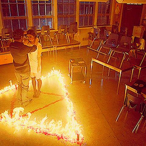 Faye channeling dark magic in the ritual