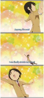 Takatoshi's reaction after exams.