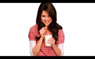 Selena drinking milk