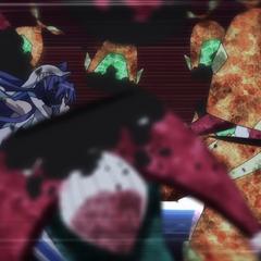 Tsubasa fighting against Noise