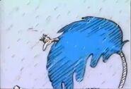A rain drop hits the dove in the head