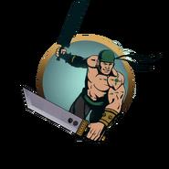 Man big swords