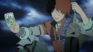Favaro holding Lavalley's card