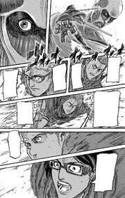 Hange's squad fights the Colossus Titan