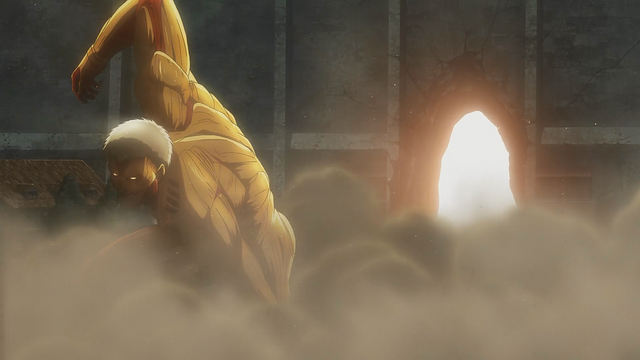 File:An armored Titan destroys the gate.png
