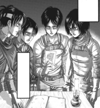Hange Levi Eren and Mikasa see the photograph