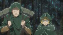Reiner wears Armin's bag