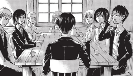 Levi speaking with his new squad