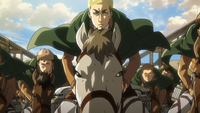 Erwin rides on top of Wall Rose