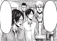 Hange and Mike escort Eren to the courtroom