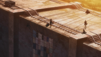 The Survey Corps cover the Wall Titan