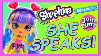 NEW Shopkins Season 7 TALKING Shoppie Doll Rainbow Kate Join the Party Fancy Dress Shopkins