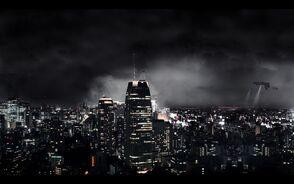 Dark-city-in-black-background