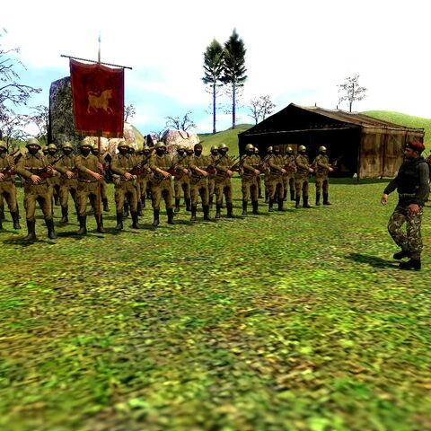 15th Infantry Regiment of the LLA during inspection at a military camp outside of Beaupre