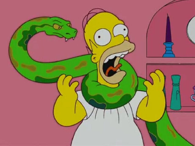 File:Bart's new pet pyton (replacement of Santa's Little Helper) squeezes Homer so hard.jpg