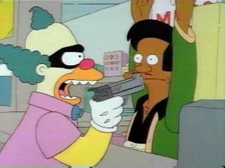 File:SideShow Bob dressed up like Krusty robbing Kwiki Mart.jpg