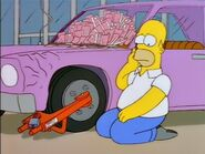 Homer's car trapped