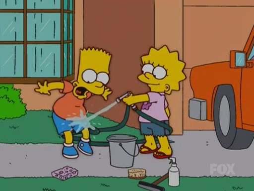 lisa simpson and bart loses swimsuit