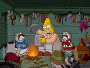 Grampa spending Christmas Eve with the Christmas raccoon