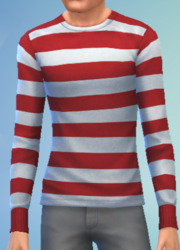 YmTop SweaterCrewBasicStripes StripesRedWhite