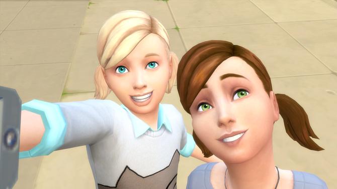 TS4 two children taking a selfie