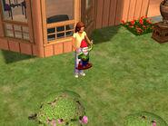 Marsha stealing a garden gnome
