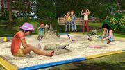 Generations children in sand