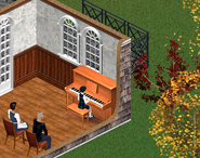 Ann watching Deliah playing the piano - The Sims