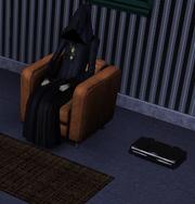 Grim reaper watching TV