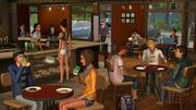 Sims at a cafe