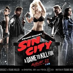 <i>A Dame To Kill For</i> promotional image featuring Johnny, Gail, John, Nancy, Marv, Ava and Dwight (left-right)