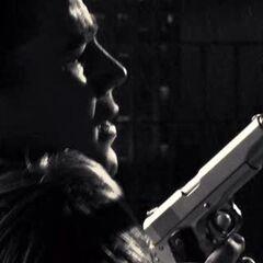 The Salesman (Josh Hartnett) with a suppressed M1911A1.