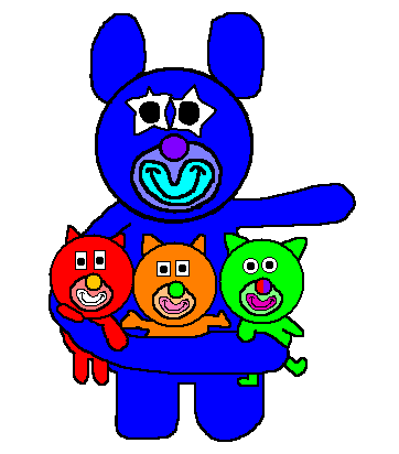 File:Blue with red, orange and green kitties.png
