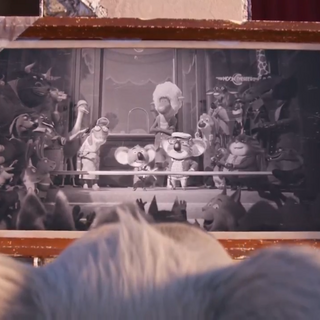 Buster's father in a photo of the grand opening of the theater.